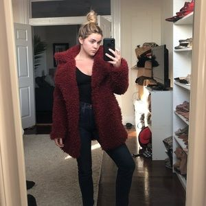 Jackets & Coats - Faux fur teddy coat - red